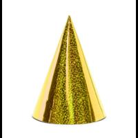 Feesthoedjes Holografisch goud 6 stuks