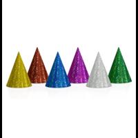 Feesthoedjes Holografisch gekleurd 20 stuks