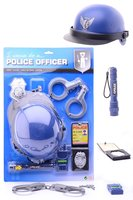 Politieset kind, 6-delig: handboeien, helm, badge, zaklamp, radio, poltie ID.