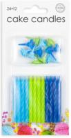 Taartkaarsjes blauw-groen 24 stuks