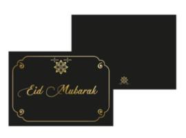 Wenskaart Eid Mubarak zwart-goud