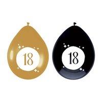 Ballonnen 18 jaar Festive Gold 6 stuks