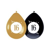 Ballonnen 16 jaar Festive Gold 6 stuks
