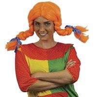 Pippi pruik oranje met vlechten en ijzerdraad