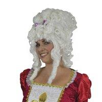 Pruik Marie Antoinette wit met pijpenkrullen met strik