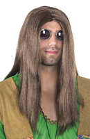 Pruik John Lennon, lang rood-bruin met scheiding
