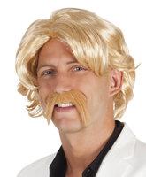 Pruik Chuck blond met zelfklevende snor
