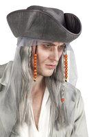 Pruik piraat grijs gemeleerd lang met hoed