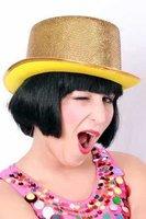Hoge hoed Lurex goud
