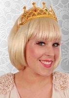 Tiara met kam prinses goud met gekleurde steentjes