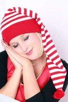 Slaapmuts rood-wit gestreept, acryl