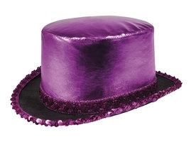 Hoge hoed shine paars lurex