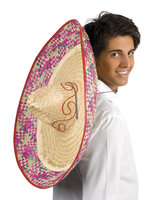 Sombrero stro XL met gekleurde rand 70 cm
