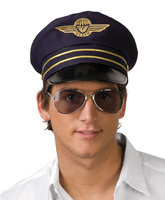 Flight captain pet blauw met wings embleem