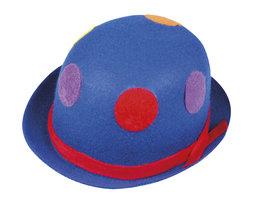 Clownbolhoed vilt, blauw met stippen