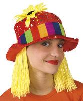 Clown rode hoed met glitters en geel haar