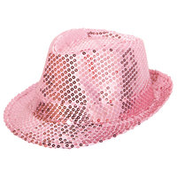 Hoed popstar pailletten roze
