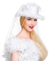 Bruidshoed wit met sluier, luxe