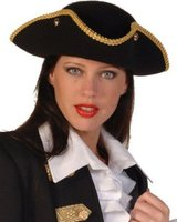Hoed piraat, wolvilt zwart met goudgalon