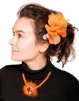 Hawaii haarclip oranje bloemen