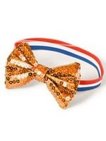 Armband met vlinderstrikje klein oranje glitter met rood wit blauw