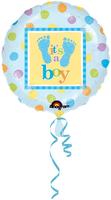 Folie ballon 'it's a  Boy' met voetstapjes