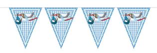 Vlaggenlijn 6 mtr blauw met ooievaar