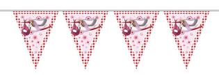 Vlaggenlijn 10 mtr roze met ooievaar