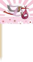 Party prikkers roze met ooievaar 50 stuks