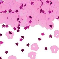 Tafeldecoratie confetti voetjes roze
