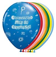 Ballonnen kleur 8 stuks met opdruk 'Gefeliciteerd met je communie' OP=OP