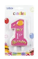 Taartkaarsje 'My 1st birthday' roze 10 cm