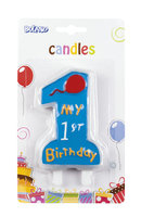 Taartkaarsje 'My 1st birthday' blauw 10 cm