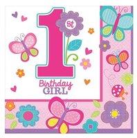 Servetten meisje '1 st birthday' 16 stuks OP=OP