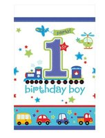 Tafelkleed plastic 'happy birtday boy' 3.55m2