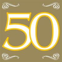 Servetten goud opdruk '50' 20 stuks