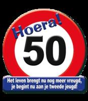 Huldeschild verkeersbord 'Hoera 50' met tekst