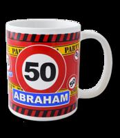 Mok verkeersbord Abraham 50 met tekst