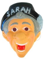 Sarah masker met hoedje en opdruk plastic