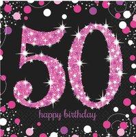 Servetten '50' sparkling zwart/roze 16 stuks