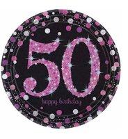 Bordjes karton '50' sparkling zwart/roze 8 stuks