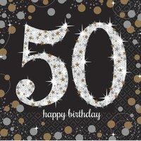 Servetten '50' sparkling zwart/goud 16 stuks