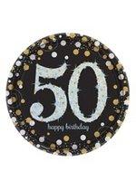 Bordjes karton '50' sparkling zwart/goud 8 stuks