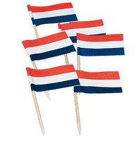 Cocktailprikkers vlag rood wit blauw 50 stuks