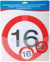 Placemats 4x en onderzetters 4x 'Verkeersbord '16' OP=OP