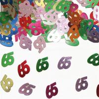 Sierconfetti cijfer '65' assorti gekleurd