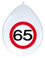 Ballonnen verkeersbord '65' 8 stuks