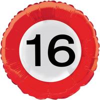 Folieballon verkeersbord '16' OP=OP