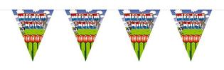 Vlaggenlijn 'Welkom thuis'  rood-wit-blauw met tulpen 10 meter