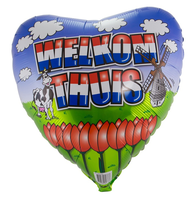 Folieballon hart 'Welkom thuis' rood - wit - blauw